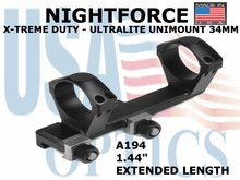 "NIGHTFORCE X-TREME DUTY ULTRALITE UNIMOUNT 34MM <BR>1.44"" EXTENDED LENGTH"