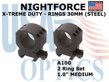 "NIGHTFORCE X-TREME DUTY RINGS 30MM (STEEL) <BR> 1.0"" Medium"