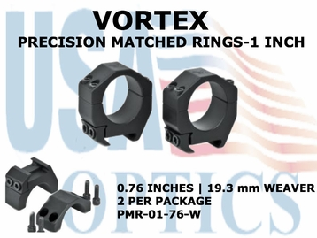 VORTEX PRECISION MATCHED RINGS<BR>1 INCH WEAVER 0.76 INCHES - 19.3 mm