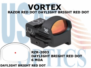 VORTEX RAZOR RED DOT DAYLIGHT BRIGHT RED DOT 6 MOA