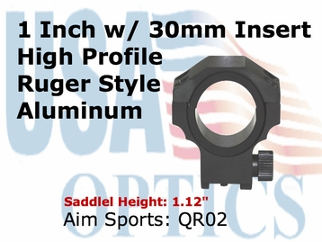 """RUGER RING 30MM/1"""" INSERT-HIGH"""