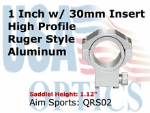 "RUGER RING 30MM/1"" INSERT-HIGH/SILVER"
