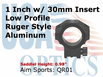 "RUGER RING 30MM/1"" INSERT-LOW"