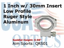 "RUGER RING 30MM/1"" INSERT-LOWITH SILVER"