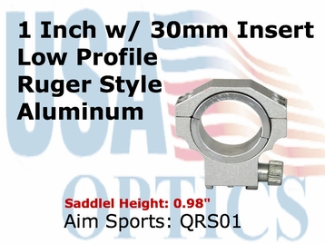 """RUGER RING 30MM/1"""" INSERT-LOWITH SILVER"""