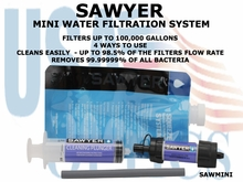 """SAWYER MINI WATER FILTRATION SYSTEM <FONT COLOR = """"RED""""><BR> LIMITED SUPPLY</FONT>"""