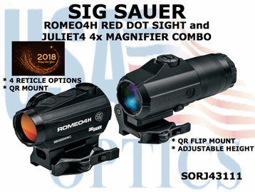 SIG SAUER ROMEO4H RED DOT SIGHT with JULIET4 4x MAGNIFIER COMBO
