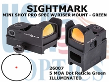 SIGHTMARK MINI SHOT PRO SPEC W/RISER MOUNT - GREEN 5 MOA