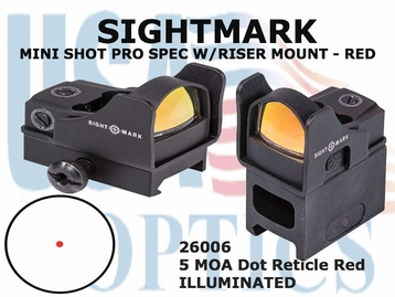 SIGHTMARK MINI SHOT PRO SPEC W/RISER MOUNT - RED 5 MOA