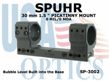 """SPUHR 30 mm PICATINNY MOUNT<br>0MIL/0MOA - 1.5"""""""