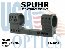 SPUHR 34mm PICATINNY MOUNT<br> 0MIL/0MOA - 1.18""