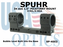 """SPUHR 34mm PICATINNY MOUNT<BR>0MIL/0MOA - 1.5"""""""