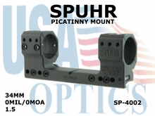 SPUHR 34mm PICATINNY MOUNT<BR>0MIL/0MOA - 1.5""