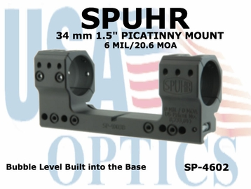 SPUHR 34MM PICATINNY MOUNT 6MIL/20.6MOA - 1.5""