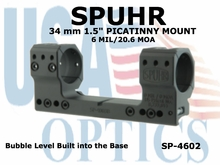 """SPUHR 34MM PICATINNY MOUNT 6MIL/20.6MOA - 1.5"""""""