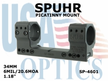 SPUHR 34MM PICATINNY MOUNT <BR>6MIL/20.6MOA - 1.18""