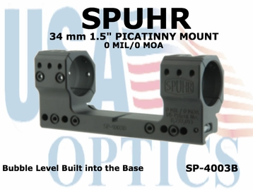 """SPUHR 34mm PICATINNY MOUNT <BR>0MIL/0MOA - 1.5"""""""