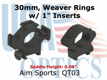 "TRI-RING MOUNT/30MM/1"" INSERT-LOW"