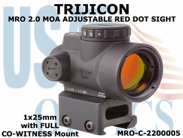 TRIJICON MRO 2.0 MOA ADJUSTABLE RED DOT SIGHT 1x25mm <BR>with FULL CO-WITNESS MOUNT