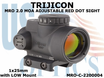TRIJICON  MRO 2.0 MOA ADJUSTABLE RED DOT SIGHT 1x25mm <BR>with LOW MOUNT
