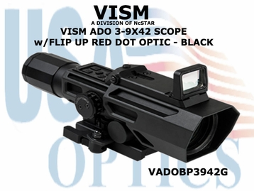 VISM ADO 3-9X42 SCOPE w/FLIP UP RED DOT OPTIC - BLACK
