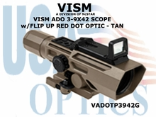 VISM ADO 3-9X42 SCOPE w/FLIP UP RED DOT OPTIC - TAN