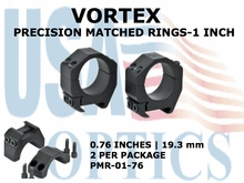VORTEX PRECISION MATCHED RINGS<BR> 1 INCH - 0.76 inches-19.3 mm
