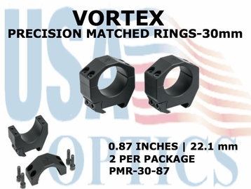 VORTEX PRECISION MATCHED RINGS  30mm - 0.87 INCHES - 22.1 mm