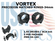 VORTEX PRECISION MATCHED RINGS  34mm - 1.45 INCHES - 36.8 mm