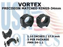 VORTEX PRECISION MATACHED RINGS 34mm - 1.10 INCHES - 27.9 mm