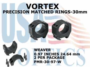 VORTEX PRECISION MATCHED RINGS 30mm WEAVER 0.97 INCHES - 24.64 mm