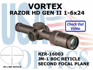 "VORTEX RAZOR HD GEN II 1-6x24 JM-1 BDC<BR><STRONG><FONT COLOR = ""RED"">LIMITED AVAILABILITY</FONT></STRONG>"