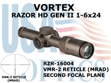 "VORTEX RAZOR HD GEN II 1-6x24 VMR-2 MRAD <BR><STRONG><FONT COLOR = ""RED"">LIMITED AVAILABILITY</FONT></STRONG>"