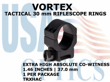 VORTEX TACTICAL RIFLESCOPE RING (1)<BR>30mm EXTRA HIGH ABSOLUTE CO-WITNESS - 1.46 Inches - 37.0 mm