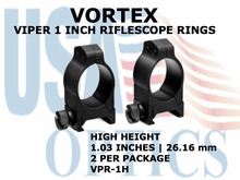 VORTEX VIPER RIFLESCOPE RINGS<BR> 1 INCH HIGH - 1.03 Inches - 26.16 mm
