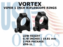 VORTEX VIPER RIFLESCOPE RINGS<BR>1 INCH LOW - 0.78 INCHES - 19.81 mm