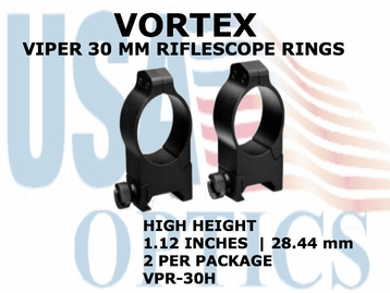 VORTEX VIPER RIFLESCOPE RINGS<br>30mm HIGH - 1.12 INCHES - 28.44 mm