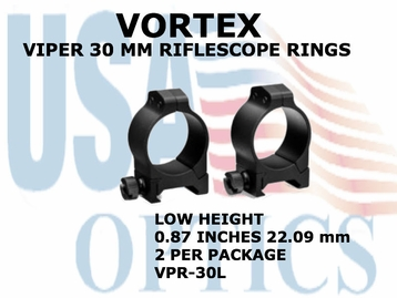 VORTEX VIPER RIFLESCOPE RINGS<BR> 30mm LOW - 0.87 INCHES - 22.09 mm