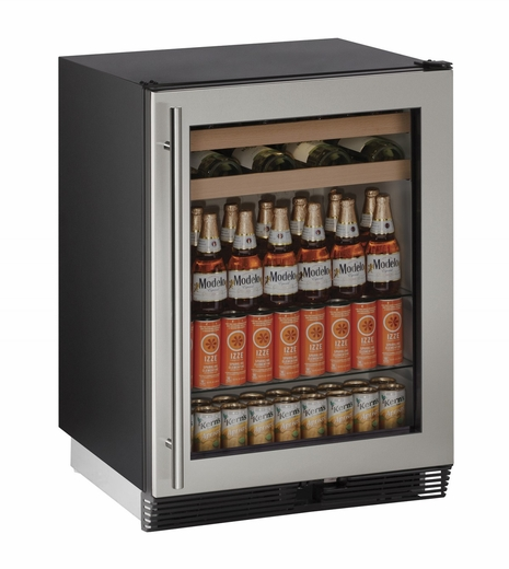 "1024BEVS00B U-Line 1000 Series 24"" Beverage Center - Field Reversible - Stainless Frame"