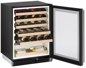 """1024WCS-00B U-Line Wine Captain 24"""" Wide Wine Cooler with Mechanical Cooling - Field Reversible - Stainless Steel"""