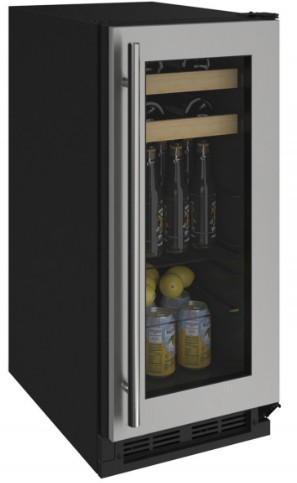 "1215BEVS00A U-Line 15"" 1000 Series Stainless Frame Beverage Center with LED Lighting and Two Adjustable Tempered Glass Shelves - Field Reversible - Stainless Steel"
