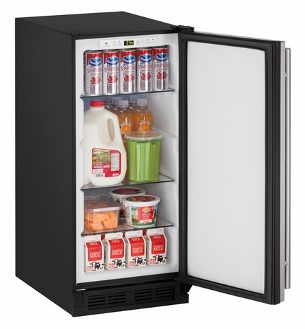 "1215RB00B U-Line 1000 Series 15"" Solid Door Refrigerator - Field Reversible - Black"