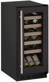 "1215WCB00B U-line 1000 Series 15"" Wide Wine Cooler with Mechanical Cooling - Field Reversible - Black"