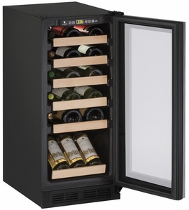 "1215WCINT-00B U-line 1000 Series 15"" Wide Wine Cooler with Mechanical Cooling - Field Reversible - Integrated Frame Custom Panel"