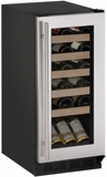 "1215WCS00B U-line 1000 Series 15"" Wide Wine Cooler with Mechanical Cooling - Field Reversible - Stainless Steel Frame"