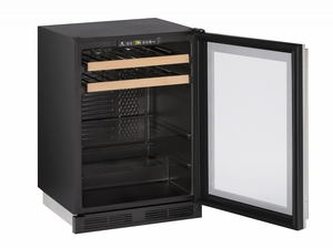 """1224BEVS-13B U-Line 1000 Series 24"""" Beverage Center with Lock - Field Reversible - Stainless Frame"""