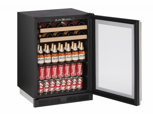 """1224BEVS13B U-Line 1000 Series 24"""" Beverage Center with Lock - Field Reversible - Stainless Frame"""