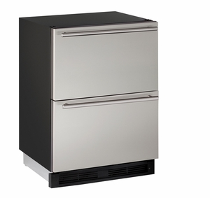 "1224DWRS-00B U-Line 1000 Series 24"" Solid Refrigerator Drawers - Stainless Steel"