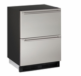 "1224DWRS00B U-Line 1000 Series 24"" Solid Refrigerator Drawers - Stainless Steel"