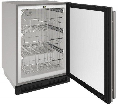 "1224FZRSOD00A U-Line 24"" 1000 Series Outdoor Freezer with LED Lighting and Digital Touch Pad Controls - Field Reversible - Stainless Steel"